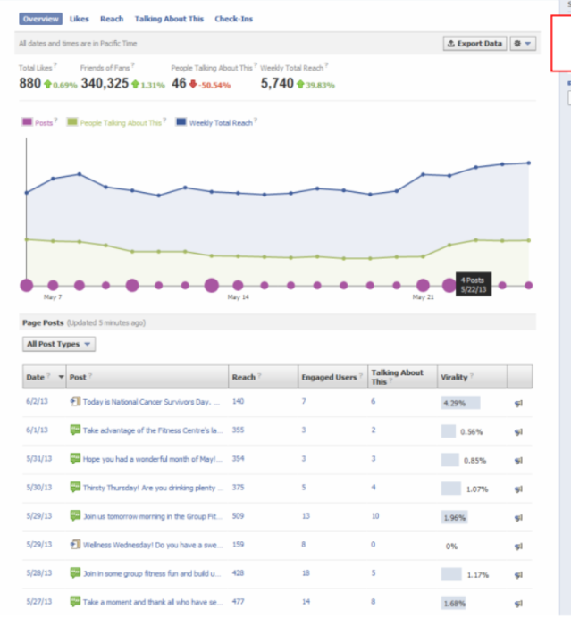 Overview Page: Facebook Insights analytics from a real company